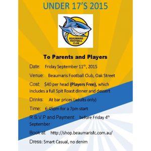 BFC U17's Presentation Night Invite
